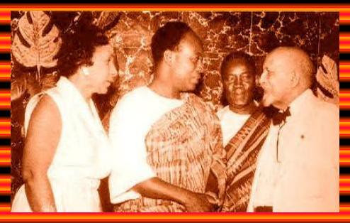 President Kwame Nkrumah of Ghana with W.E.B. DuBois and Shirley Graham DuBois, along with Kojo Botsio, Ghana Foreign Minister in 1963. The DuBois' became citizens of Ghana and led research and media institutions between 1962-1966. by Pan-African News Wire File Photos