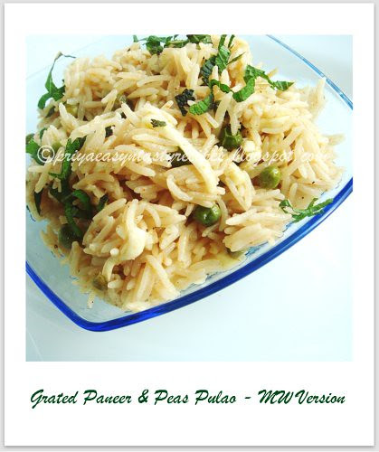 Grated paneer & peas pulao