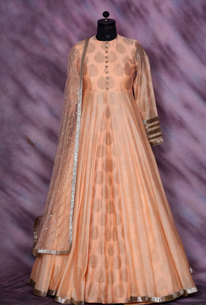 Peach Designer Party Wear Dress