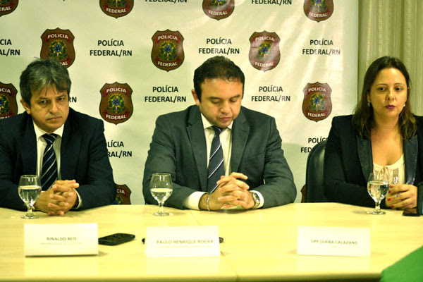 Procurador-Geral de Justiça, Rinaldo Reis; superintendente interino da PF no RN, Paulo Henrique Rocha; e delegada Diana Calazans falaram sobre a operação