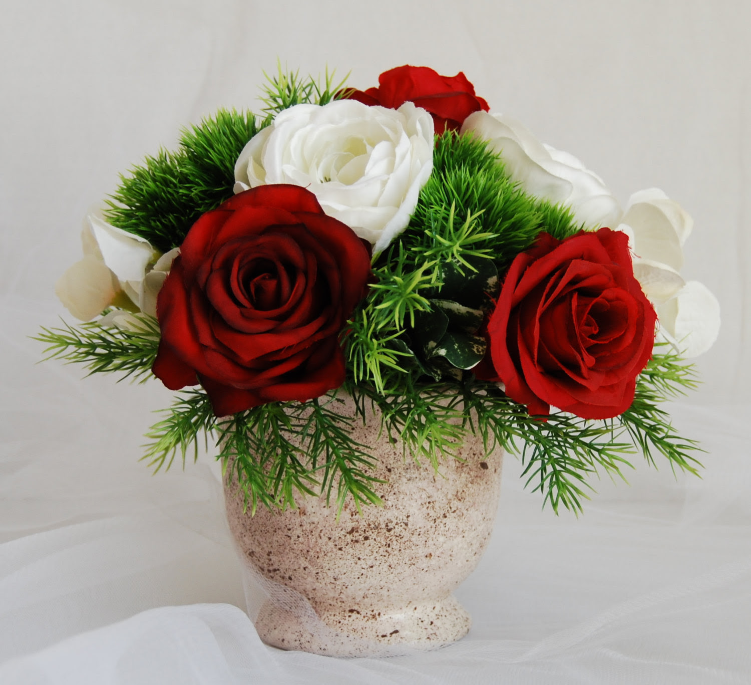Silk Floral Arrangement Faux Red Roses Artificial White Hydrangeas Faux Flower Arrangement Home Decor Flower Modern Floral Arrangements Floral Designs By Alka
