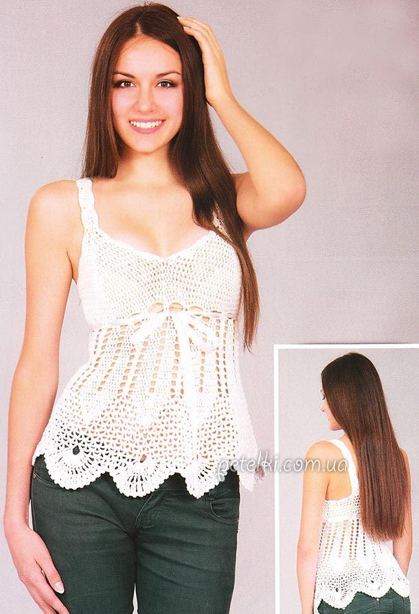 Chaleco blanco crochet calado.  Descripción esquemas