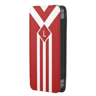 White Stripes and Chevrons on Red with Monogram iPhone SE/5/5S/5C Pouch