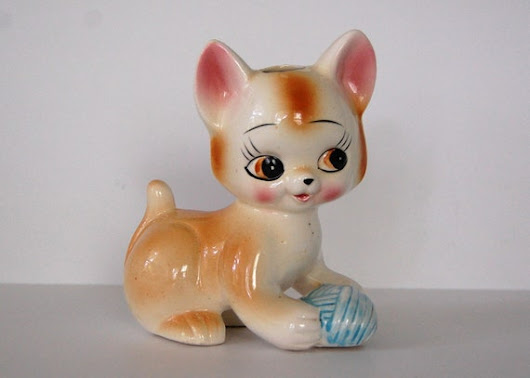 Vintage Cat Figurine, Large Kitsch Ceramic Cat
