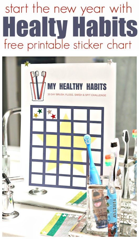 Healthy Habits Challenge and FREE Printable Sticker Chart - No Time For Flash Cards