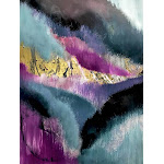 Gemini: a vibrant, colorful abstract piece in gold, purple, blue, black, and white Pillow Sham by Alyssa Hamilton Art - STANDARD SET OF 2