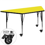 """Flash Furniture 26"""" x 46"""" Trapezoidal High Pressure Top Mobile Activity Table in Yellow - XU-A2448-TRAP-YEL-H-P-CAS-GG"""
