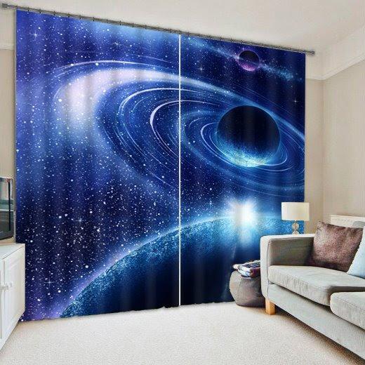 Amazing 3D Galaxy Reactive Dye Light Blocking Curtain
