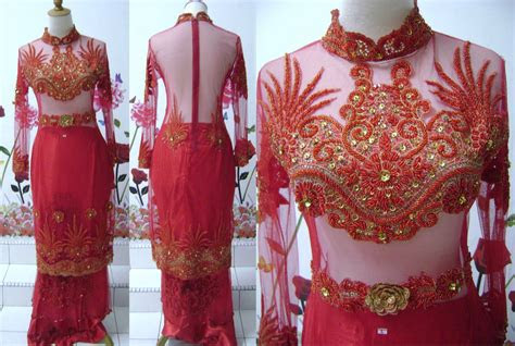 baju pengantin kebaya sulam kebaya kurung merah gold