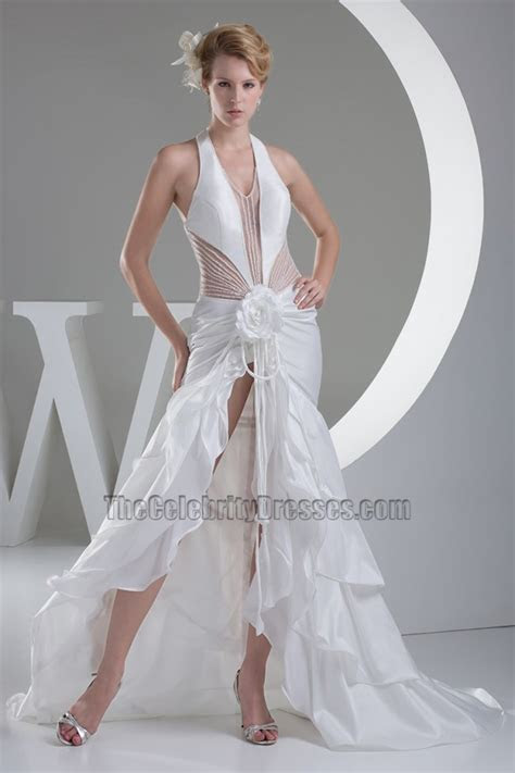 Sexy Cut Out Halter Chapel Train Wedding Dress With