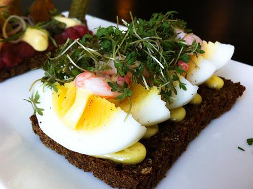 Egg, cress and prawn on rye