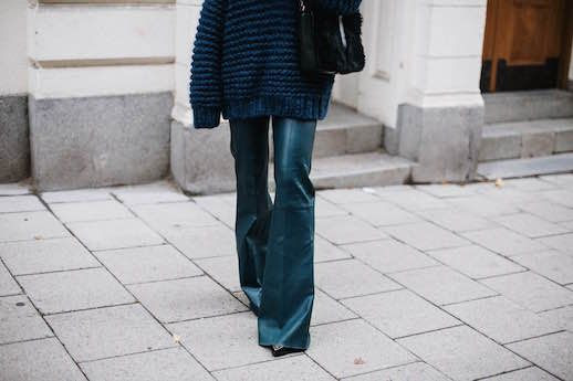 Le Fashion Blog Blue Knit Sweater Teal Trousers Black Bag Via Lisa Place
