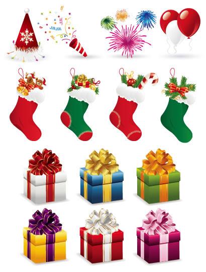 クリスマスプレゼント靴下パーティーのイラストaieps ベクター