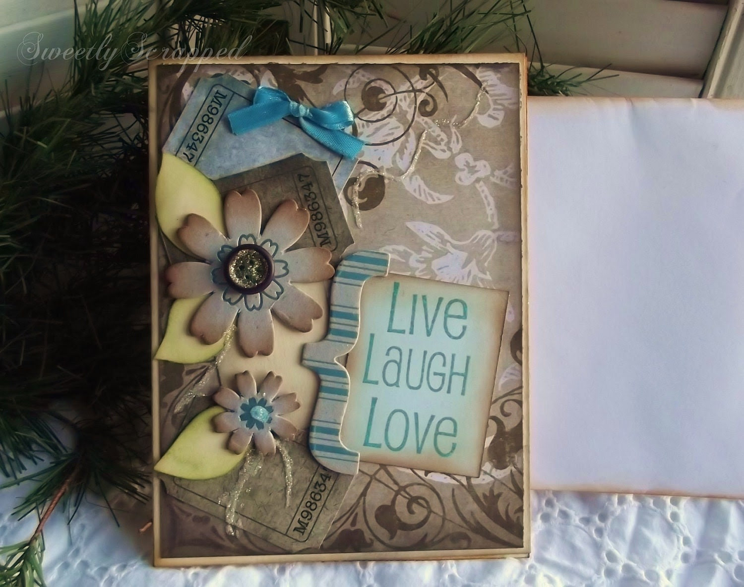 Live Love Laugh Card, Blue, Shabby and Vintage Inspired