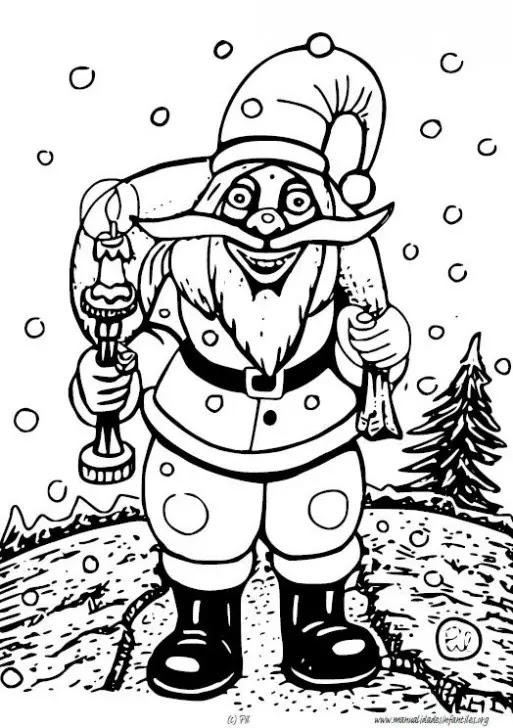 Dibujo De Papa Noel Con Saco Para Colorear Actividades Para Niños