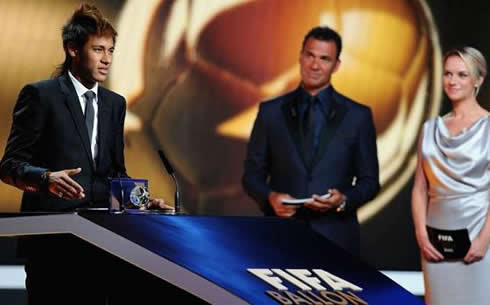 Neymar on stage at FIFA Balon d'Or 2011-2012 gala and ceremony