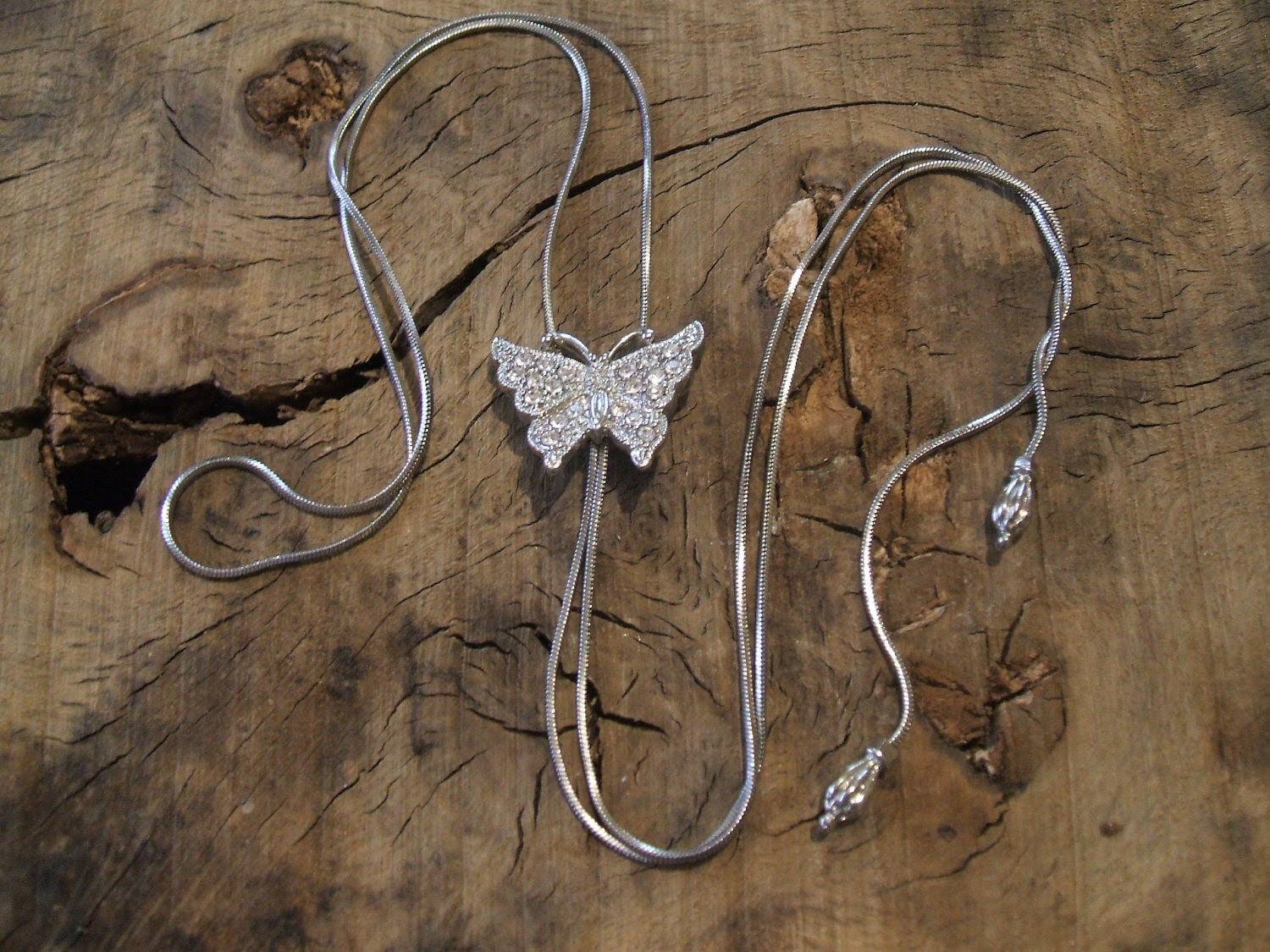 Butterfly Necklace - crystal - silvered