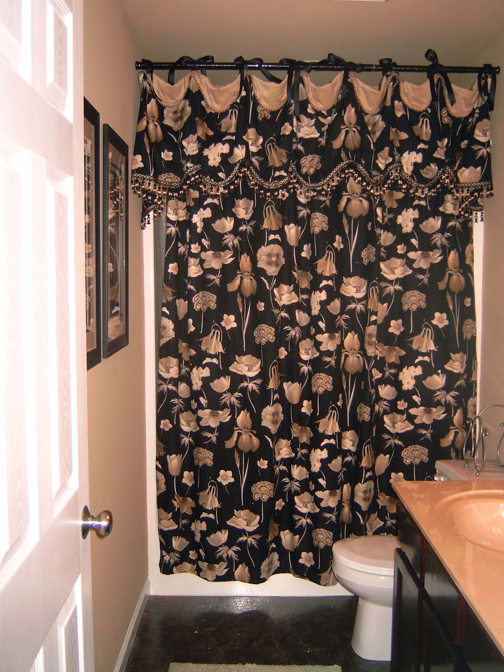 Shower Curtains With Valance Attached Courtyard Garden And Pool