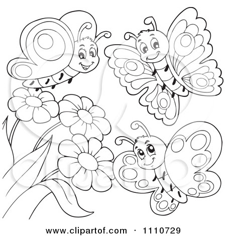 Butterfly In Garden Drawing at GetDrawings | Free download