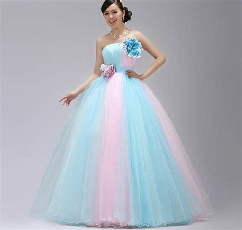 Stunning A Line Strapless Light Sky Blue And Pink Bridal