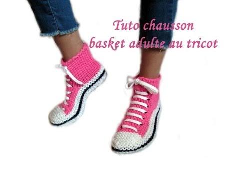 les tutos de fadinou tuto chausson basket adulte au tricot. Black Bedroom Furniture Sets. Home Design Ideas