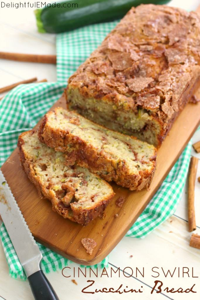 Loaded with garden fresh zucchini, and a cinnamon sugar swirl, this incredible zucchini bread will have you coming back for seconds! Â Perfect for an afternoon snack and great with your morning coffee, this simple zucchini bread recipe is amazing!