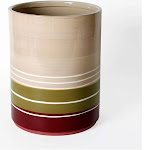 "Saturday Knight Ltd Madison Stripe Hand Painted Ceramic Bath Waste Basket - 9.5x7.5x7.5"" Red"