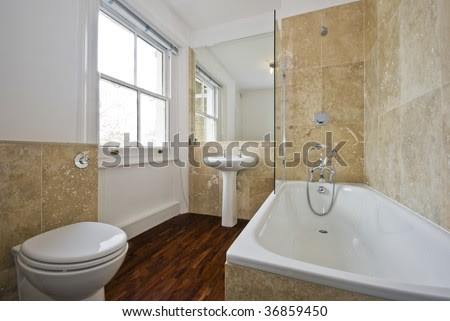Bathroom With Light Brown Marble Tiles And Wooden Floor Stock ...