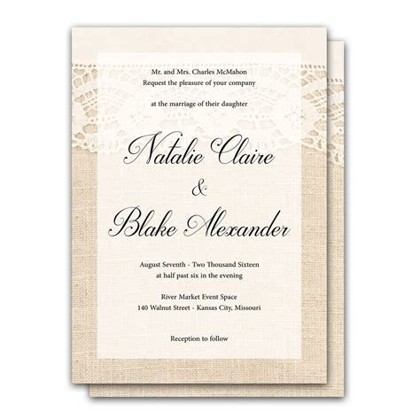 Elegant Lace and Burlap 5x7 Wedding Invitation and RSVP Card