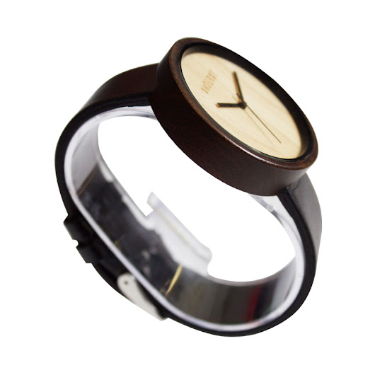 Modern Wood Watch with Black Leather Wrist Band Designed in Chicago by seDURST