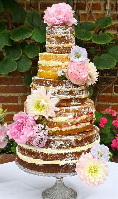 Yummy layered wedding cake sans icing.   Wedding cakes