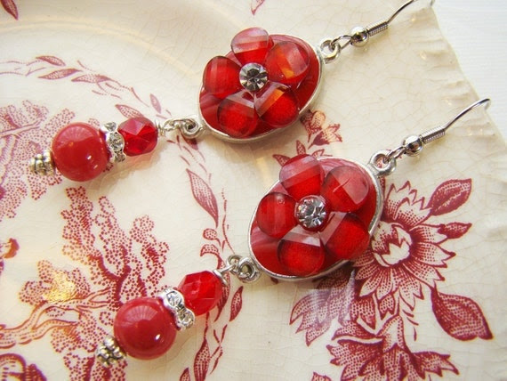 Romantic Ruby Red Flower & Rhinestone Earrings by Alyssabeths