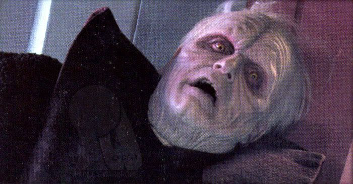 Palpatine pretends to be helpless at the hands of Mace Windu.