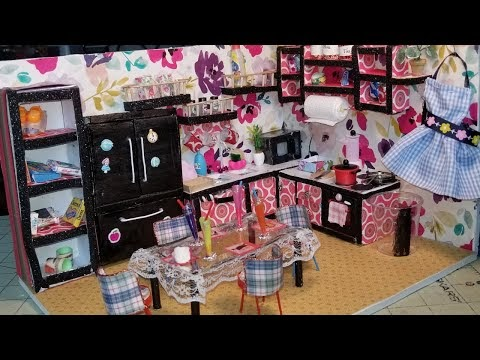 DIY Dollhouse Kitchen Sink and counter top and Floating cabinet Easy dol...