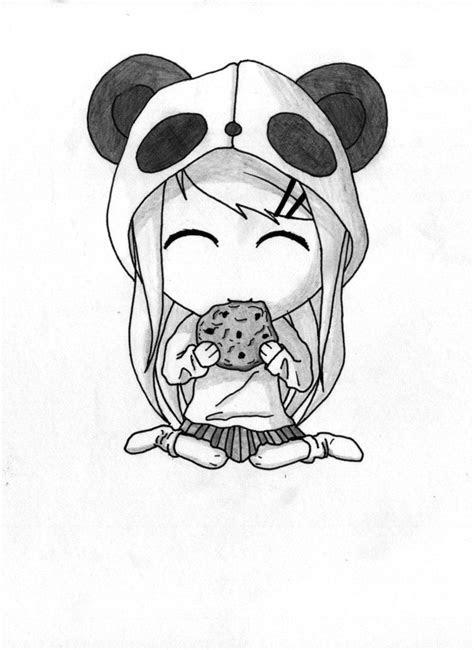 panda girl drawing beauthiful  art em  panda