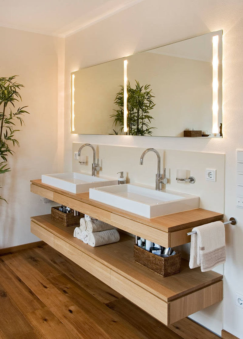 Bathroom Design Idea An Open Shelf Below The Countertop 17