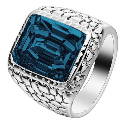 silver color large square crystal men ring jewelry for