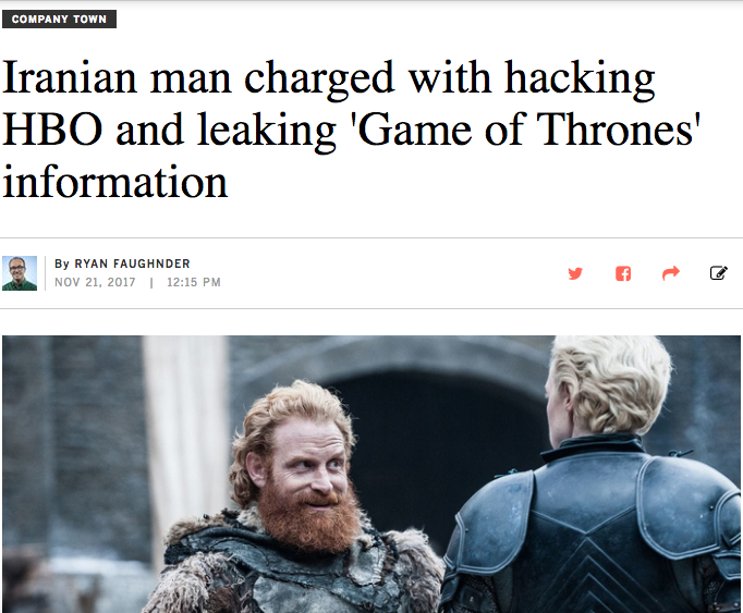 LAT: Iranian man charged with hacking HBO and leaking 'Game of Thrones' information