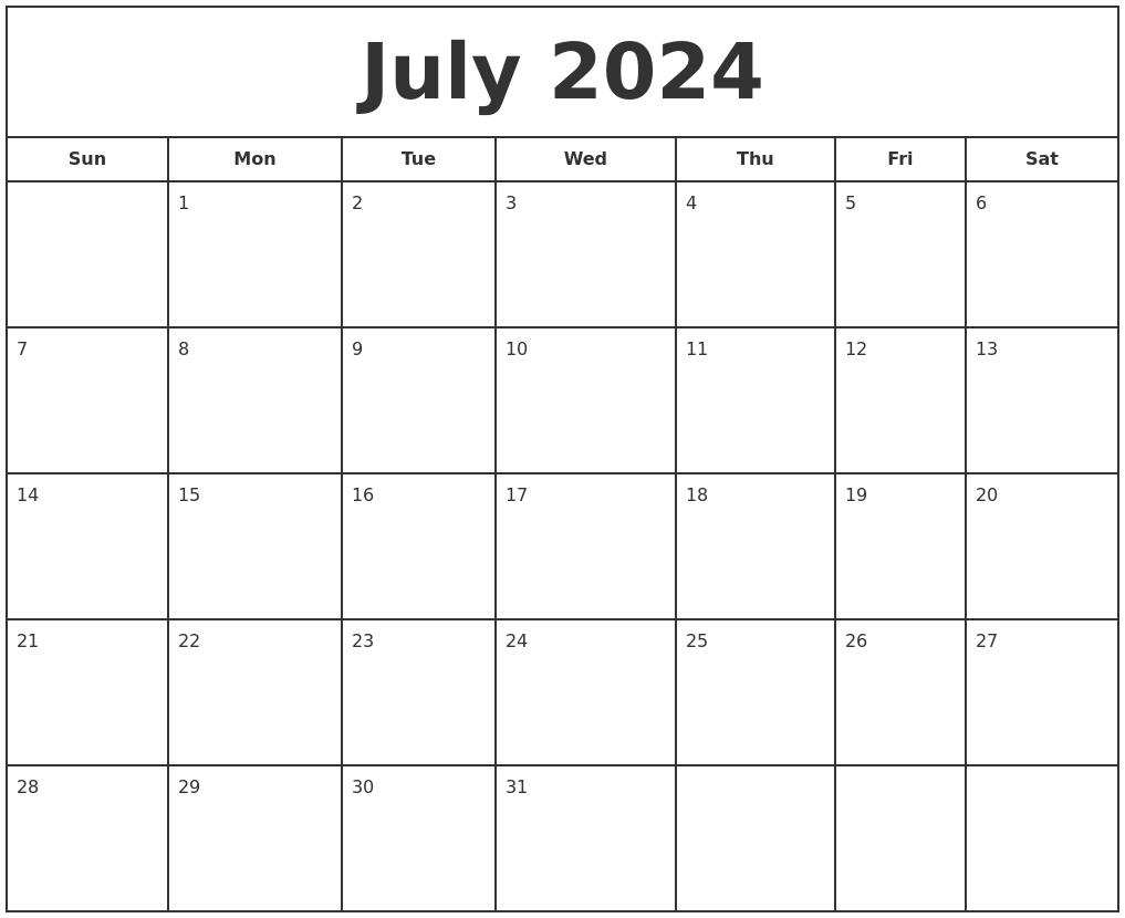 july 2024 print free calendar