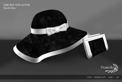 DANIELLE Ceri Hat And Clutch Black And White
