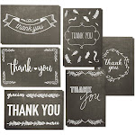 144-Count Thank You Cards with Envelopes, Blank 6 Assorted Bulk Thank You Greeting Notes Black and White Chalkboard Designs for Graduation Baby and