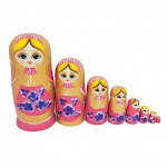 ULTNICE Wooden Russian Nesting Dolls Matryoshka Pink Girl Stacking Toy Doll 8pcs