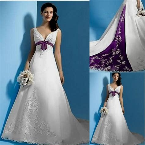 White And Purple Wedding Dresses   fashjourney.com