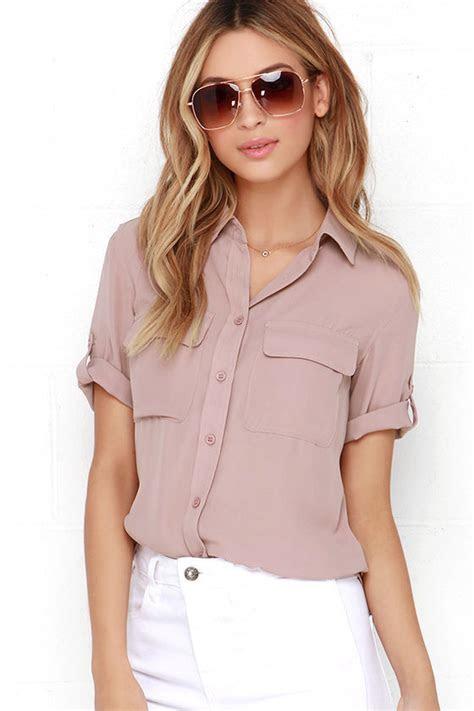 cute mauve top button  top short sleeve top