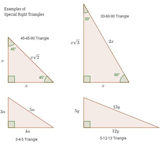 Special Right Triangles solutions, examples, videos