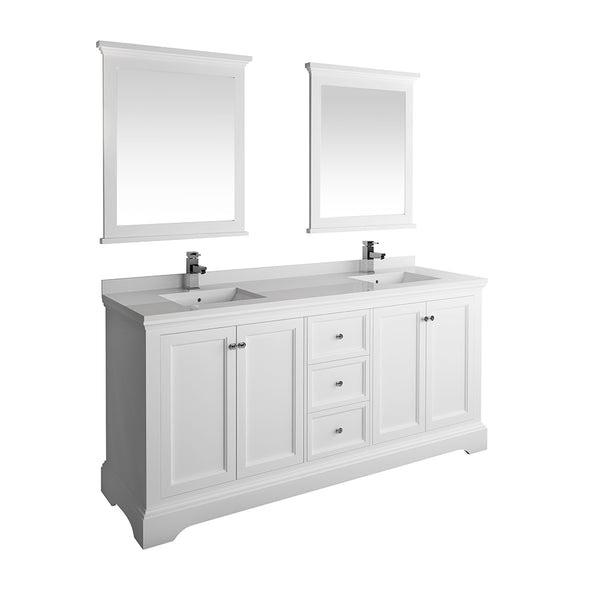 Fresca Windsor 72 Matte White Traditional Double Sink Bathroom