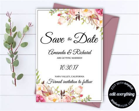 Pink Floral Save the Date Wedding Template Pink Floral