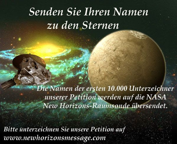 A New Horizons Message Initiative poster in German.