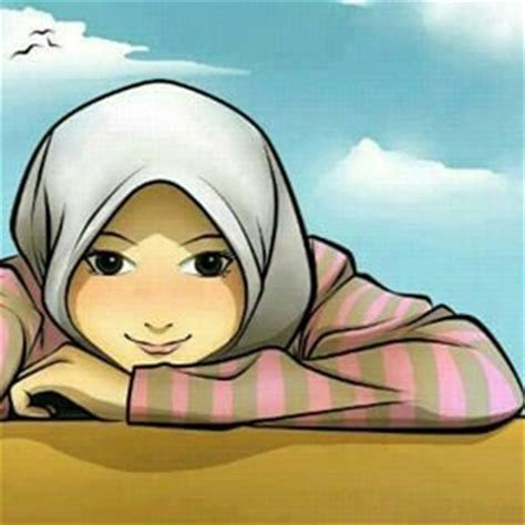 gambar kartun muslimah senyum lucu gambar animasi gif