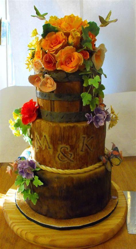Wood Stumps And Flower Basket   CakeCentral.com